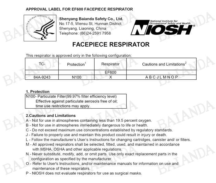 Baianda NIOSH-N100 Approved